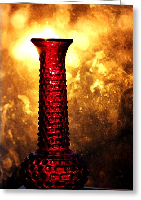 Red Glass Vase At Sunset Greeting Card by Tracie Kaska