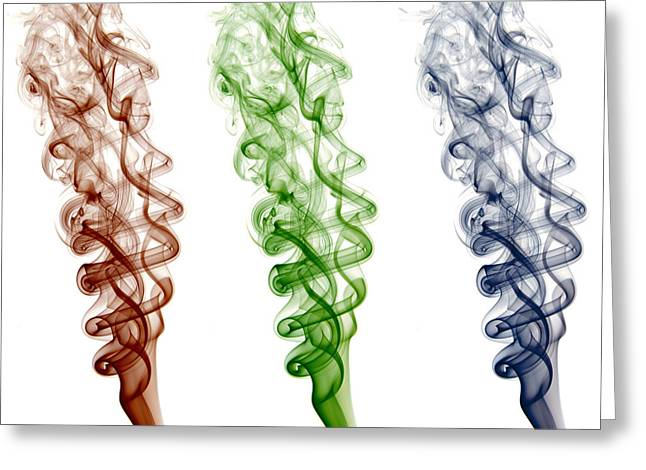 Red Green Blue Smoke Greeting Card by Luis A Pena