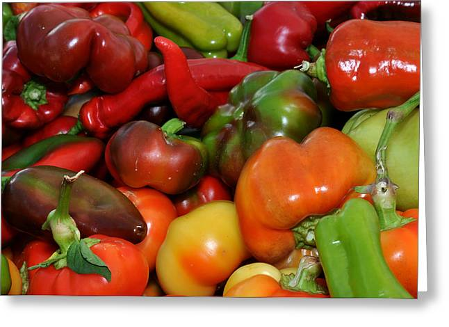 Red Green Orange And Yellow Peppers Greeting Card by Diane Lent