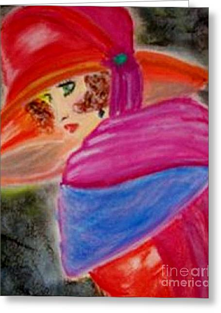 Greeting Card featuring the painting Red Hat by Lori  Lovetere