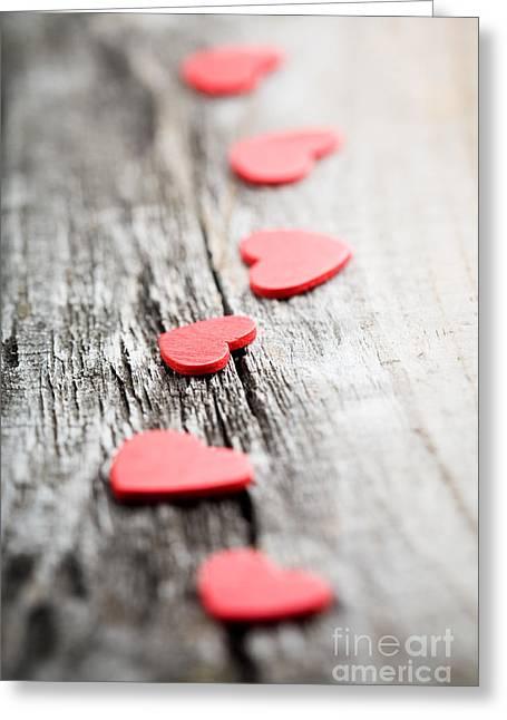 Red Hearts Greeting Card by Kati Molin