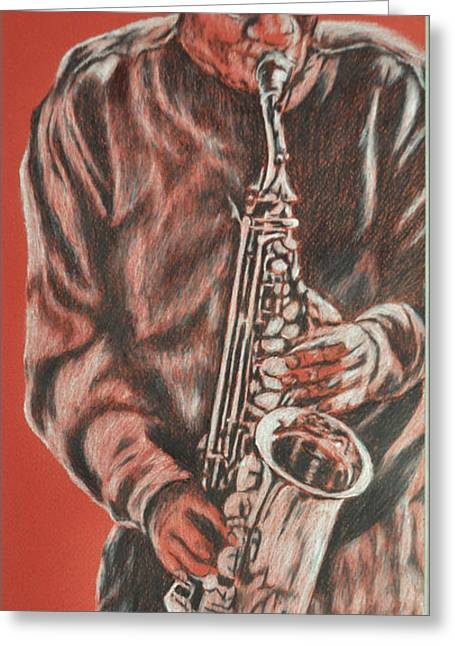 Red Hot Sax Greeting Card by Norma Gafford