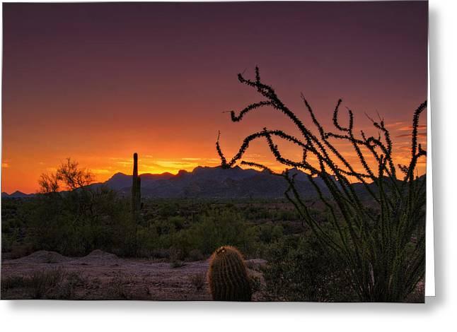 Red Hot Sunset  Greeting Card by Saija  Lehtonen