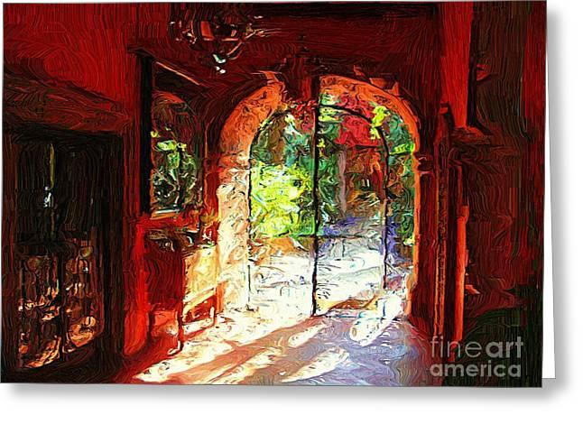Greeting Card featuring the digital art Red Hotel Lobby by John  Kolenberg