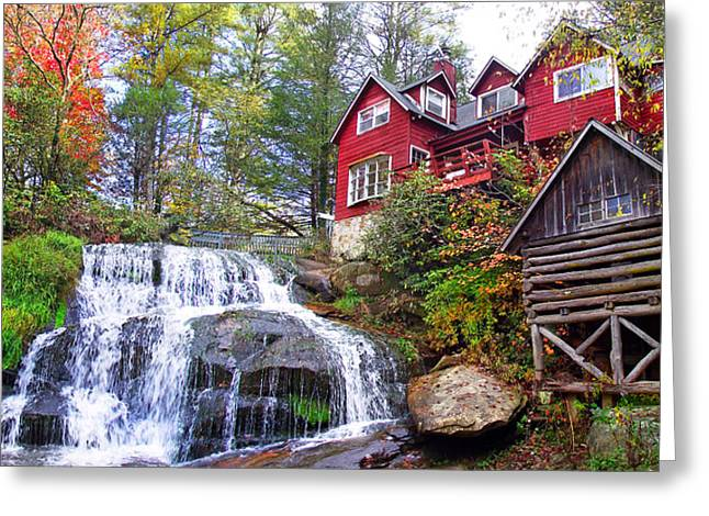Red House By The Waterfall 2 Greeting Card