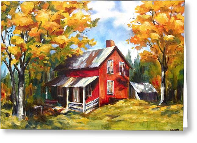 Red House In Autumn Greeting Card