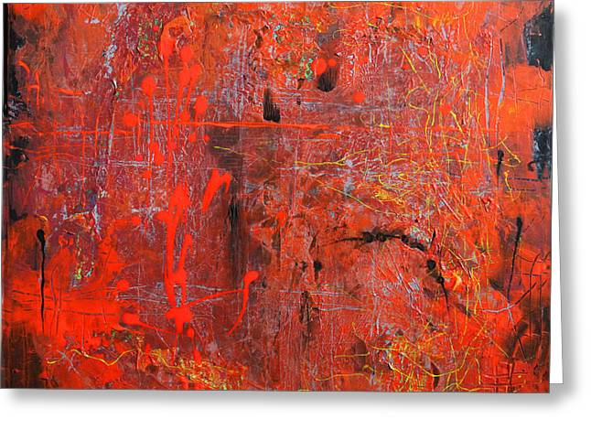 Greeting Card featuring the painting Red Ice by Lolita Bronzini