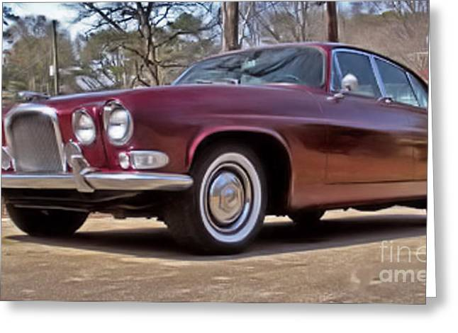 Greeting Card featuring the photograph Red Jaguar 1966 by Elizabeth Coats