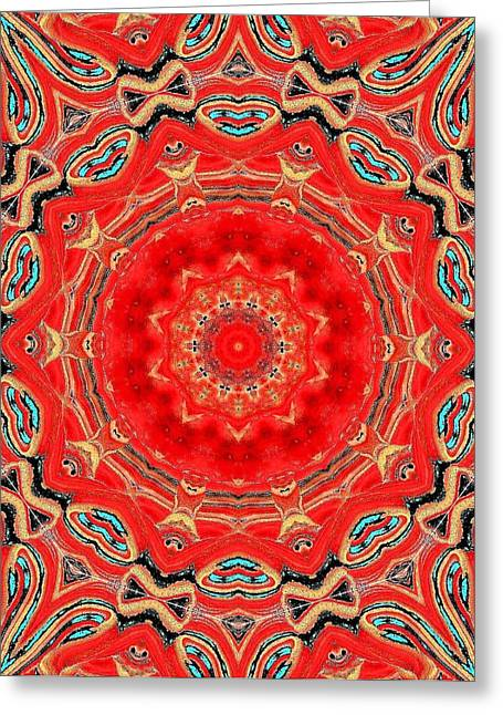 Greeting Card featuring the painting Red Kalideoscope by Carolyn Repka