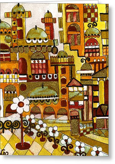 Red Kasba Skyline Landscape Art Of Old Town Dome And Minarett Decorated With Flower Arch In Orange Greeting Card by Rachel Hershkovitz