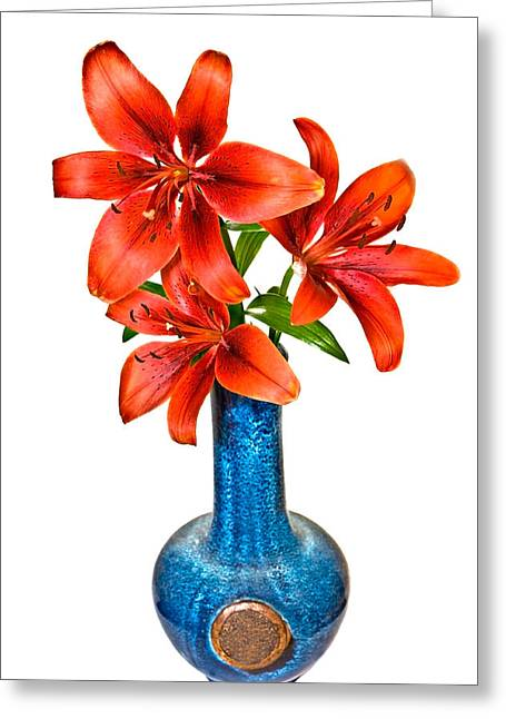 Red Lilies In Blue Vase Greeting Card