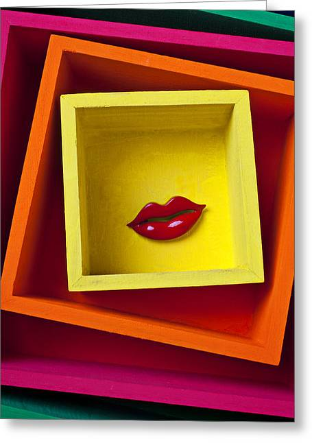 Red Lips In Yellow Box Greeting Card by Garry Gay