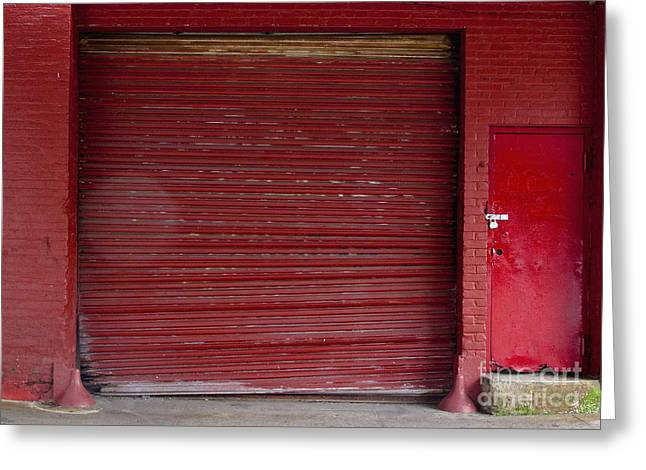 Red Loading Bay Door Greeting Card by Inti St. Clair