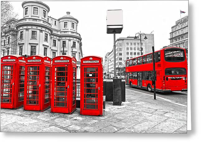Greeting Card featuring the photograph Red London by Luciano Mortula
