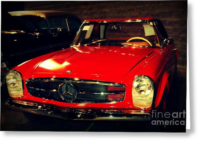 Red Mercedes Sl Greeting Card