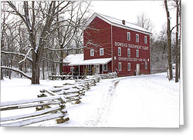 Red Mill In Winter Greeting Card