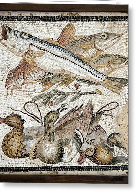 Red Mullets And Ducks, Roman Mosaic Greeting Card by Sheila Terry