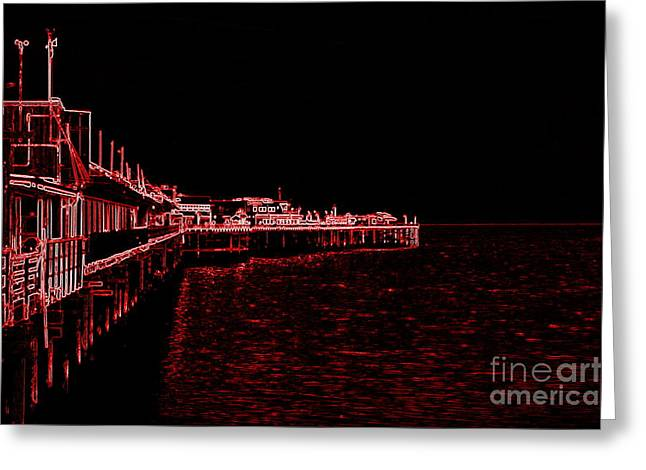 Red Neon Wharf Greeting Card by Garnett  Jaeger