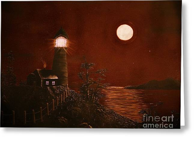 Red Night Greeting Card by Barbara Griffin