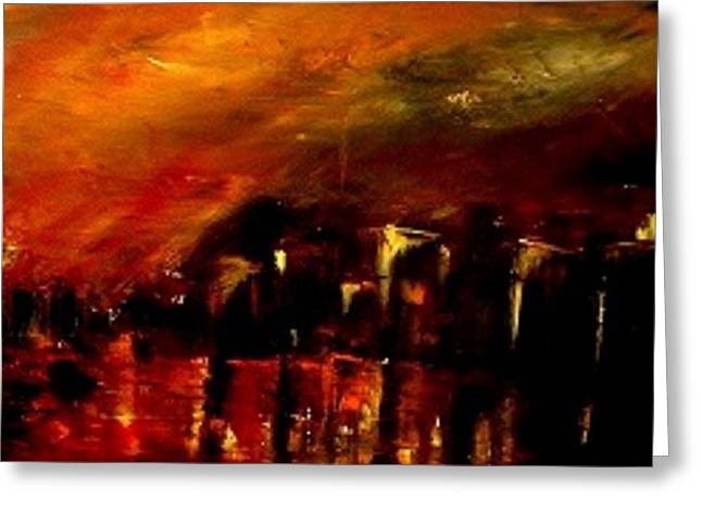 Red Night Greeting Card by Marchini Pierre paul