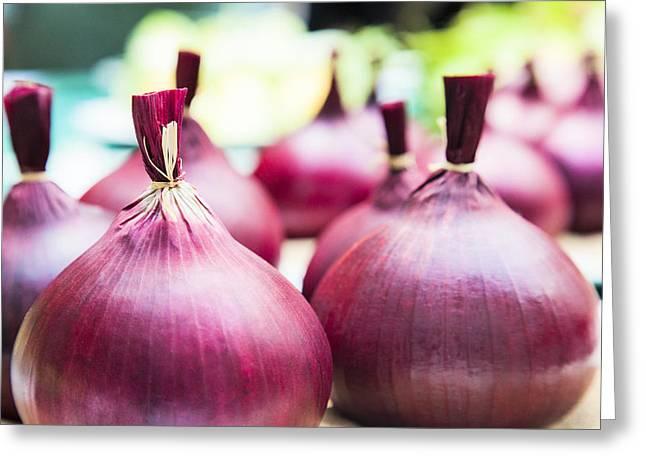 Red Onions Greeting Card by Maj Seda