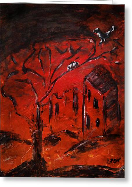 Greeting Card featuring the painting Red Orange Yellow Sunset With Bird Nest Castle And Tree Silhouette by M Zimmerman