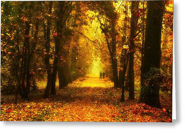 Red Park Alley Greeting Card by Jaroslaw Grudzinski