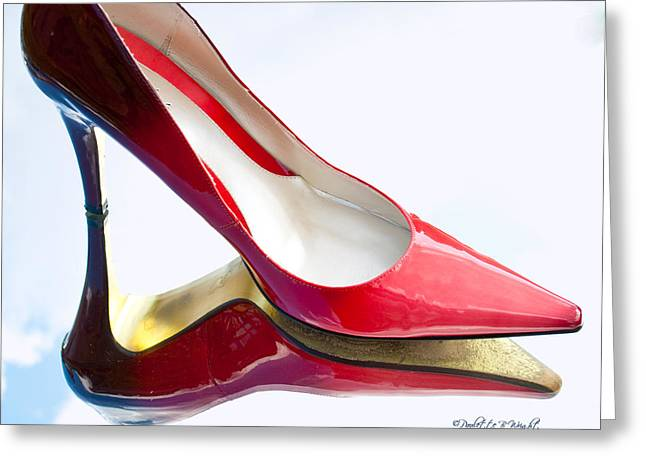 Red Patent Stilettos Greeting Card by Paulette B Wright