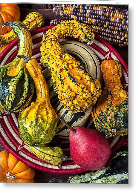 Red Pear And Gourds Greeting Card by Garry Gay