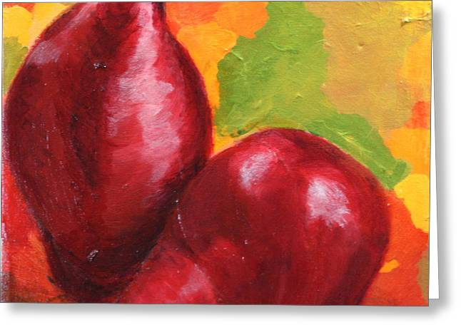 Red Pear Harvest Greeting Card