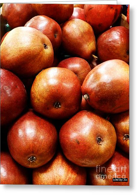 Red Pears Greeting Card by Methune Hively