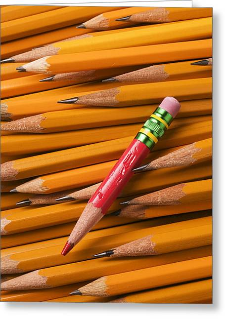 Red Pencil With Yellow Ones Greeting Card by Garry Gay