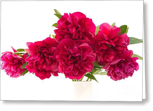 Red Peonies Greeting Card by Ann Garrett