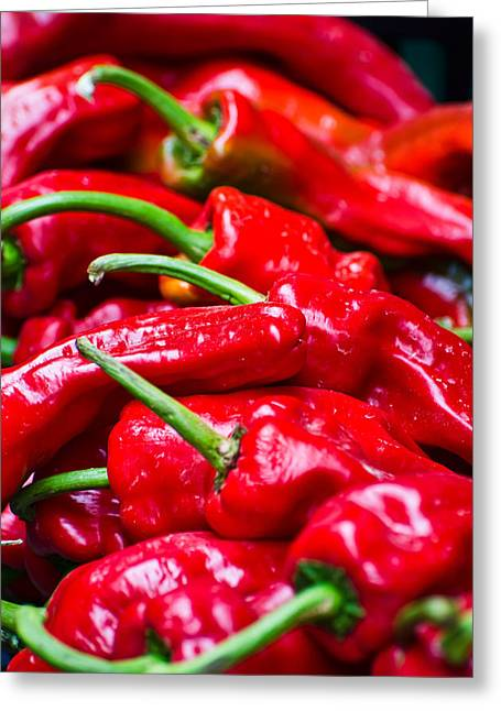 Greeting Card featuring the photograph Red Peppers by Don Schwartz