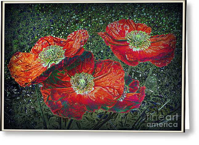 Greeting Card featuring the mixed media Red Poppies by Irina Hays