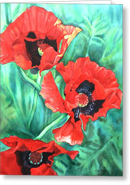 Red Poppies Greeting Card by Leslie Redhead