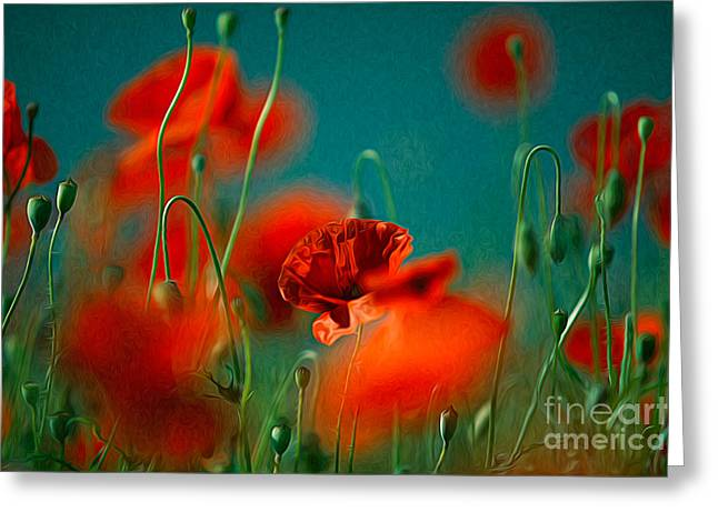 Red Poppy Flowers 05 Greeting Card by Nailia Schwarz