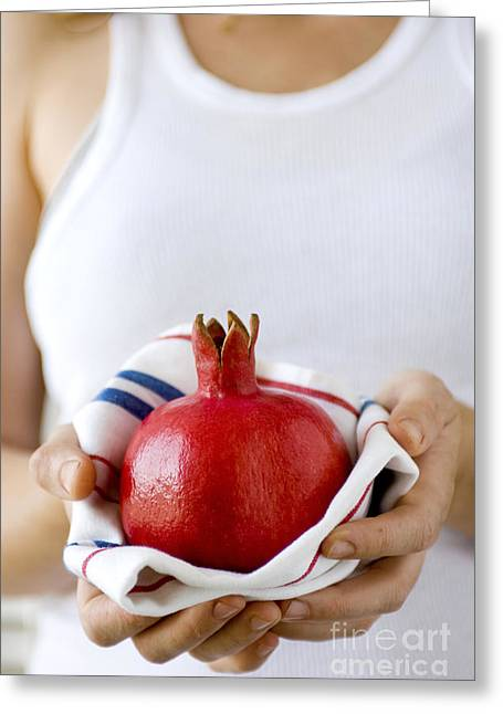 Red Ripe Pomegranate  Greeting Card by Shahar Tamir