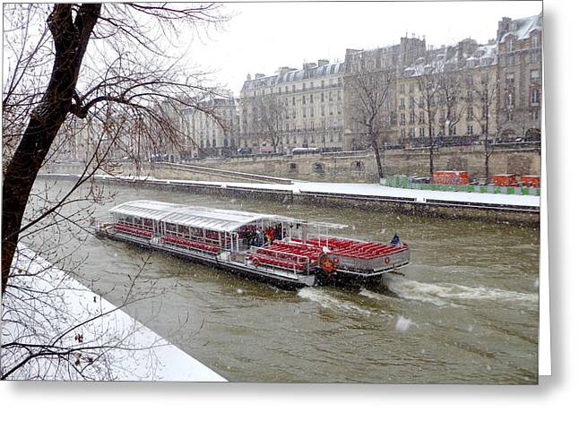 Red Riverboat On The Seine Greeting Card