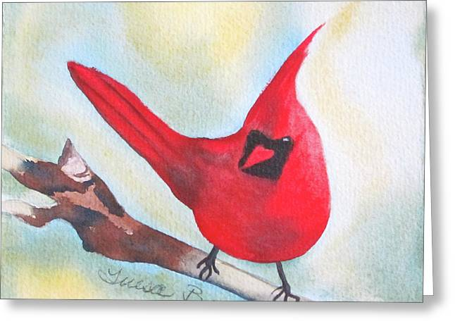 Greeting Card featuring the painting Red Robin by Teresa Beyer