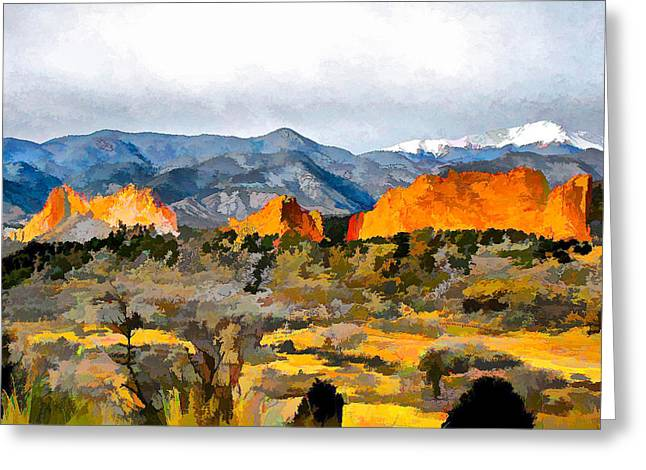 Greeting Card featuring the digital art Red Rock Country by Brian Davis