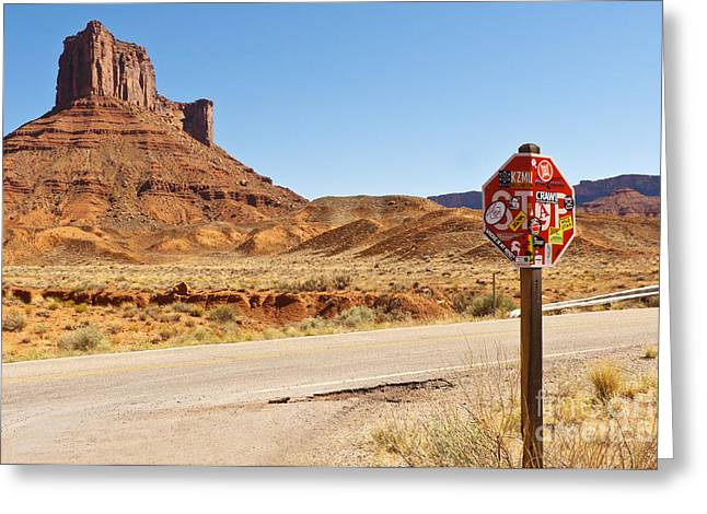 Red Rock Stop Greeting Card by Bob and Nancy Kendrick