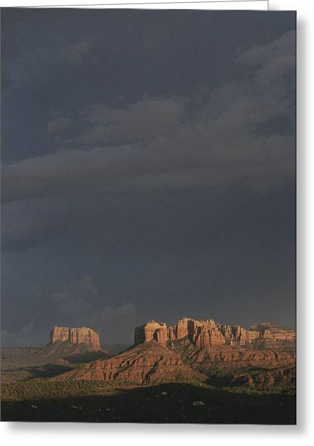Red Rocks Of Cathedral Rock Lit By Sun Greeting Card