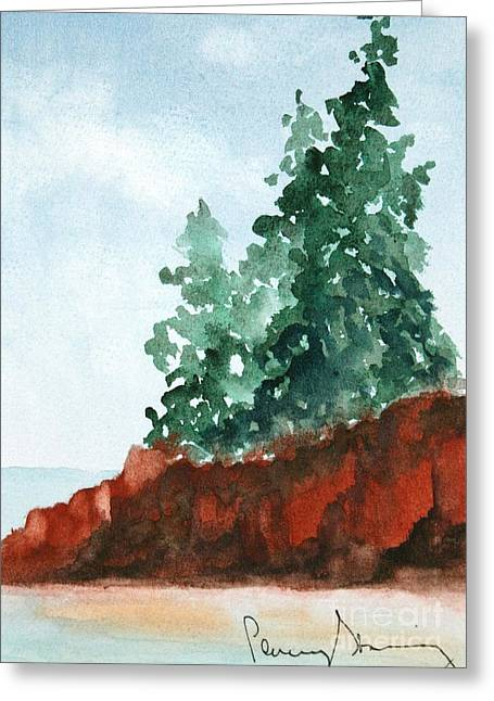 Red Rocks On Waters Edge Greeting Card