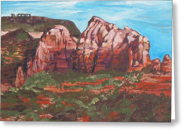 Red Rocks Greeting Card by Sandy Tracey