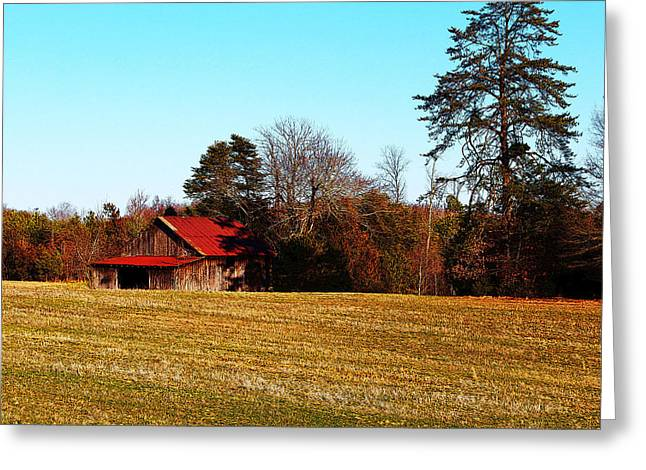 Red Roof Tobacco Barn Greeting Card