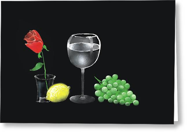 Red Rose And Grapes Greeting Card by Larry Cirigliano