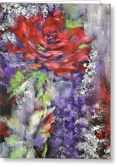 Red Rose In Winter Greeting Card by Kathleen Pio