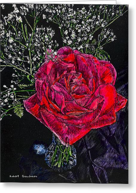 Red Rose Greeting Card by Robert Goudreau