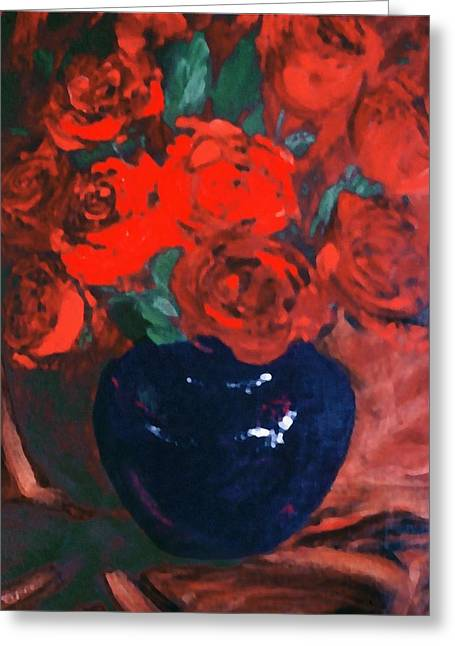 Red Roses Blue Vase Greeting Card